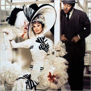 Audrey Hepburn transformed into Eliza Doolittle